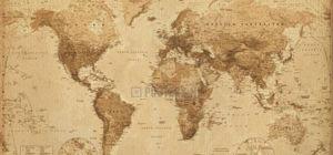 Win wereldkaart antieke stijl